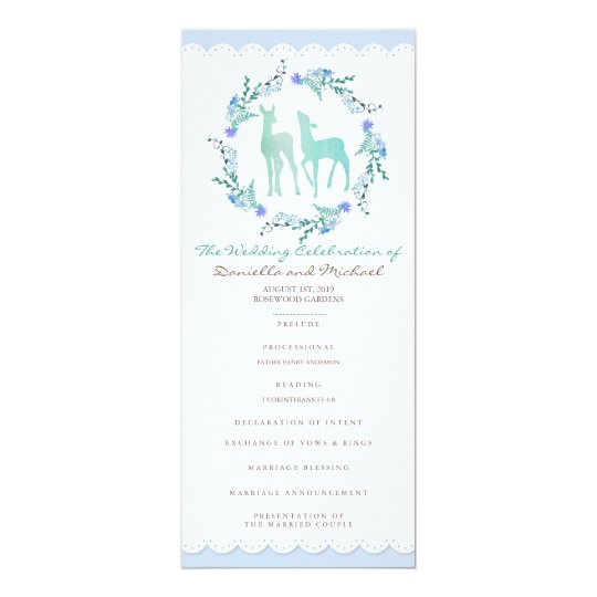 Deers in Love Woodland Winter Wedding Program Card