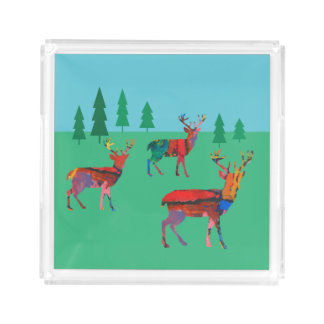 Deers in the Forest Acrylic Tray