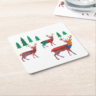 Deers in the Forest Square Paper Coaster