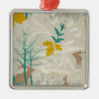 Deer's Life Silver-Colored Square Decoration