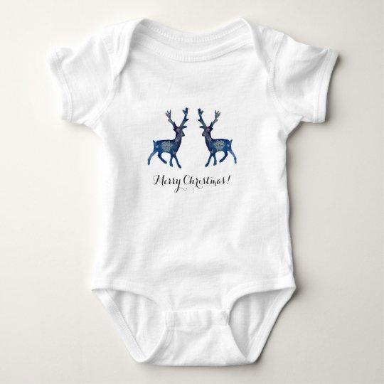 Deers Snow Mandala Baby Jersey Bodysuit, White Baby