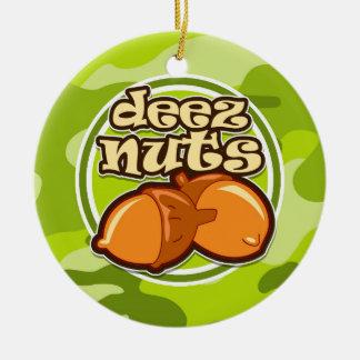 Deez Nuts; bright green camo, camouflage Round Ceramic Decoration