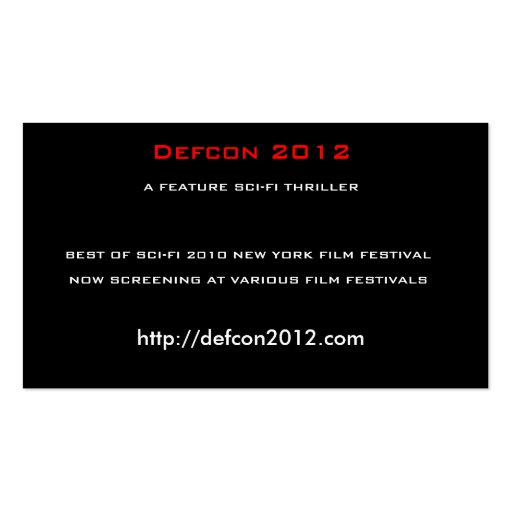 Defcon 2012, A FEATURE SCI-FI THRILLER Double-Sided Standard Business Cards (Pack Of 100)