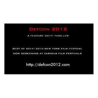 Defcon 2012, A FEATURE SCI-FI THRILLER Business Card Templates