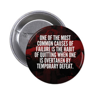 Defeat Is Temporary - Workout Motivational 6 Cm Round Badge