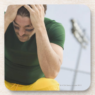 Defeated Football Player with Head in Hands Coasters