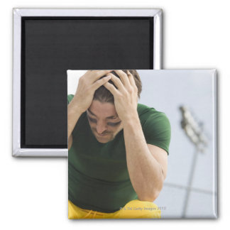 Defeated Football Player with Head in Hands Square Magnet
