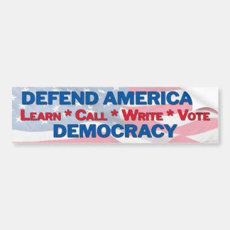 defend our democracy bumper sticker