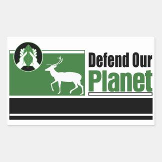 Defend Our Planet Rectangular Sticker