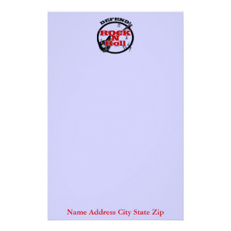 Defend Rock N Roll, Name Address City State Zip Personalized Stationery