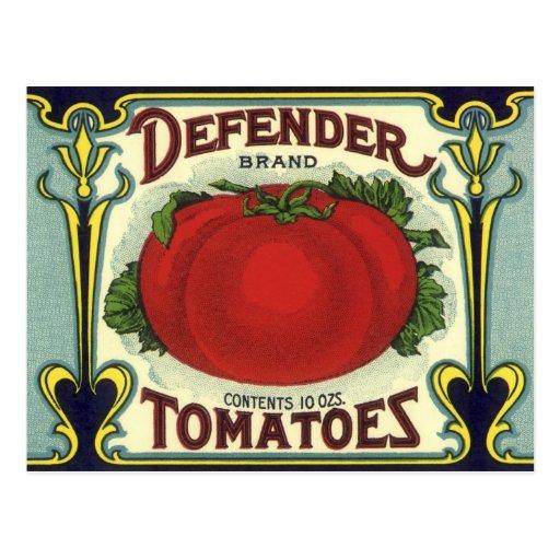 Defender Tomatoes, Vintage Fruit Crate Label Art Postcards
