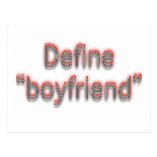 """Define """"boyfriend""""  Double colors Postcards"""