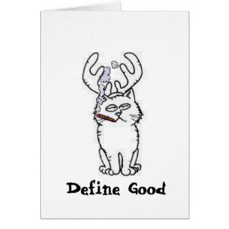 Define Good Reindeer Cat Note Card