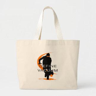 Define vacuum Orange Fielder Softball Jumbo Tote Bag