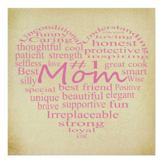Definition Of A Mother-Heart Outline Poster