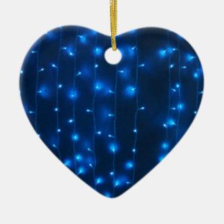 Defocused and blur image of garland of blue LED li Ceramic Heart Decoration