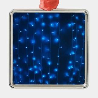 Defocused and blur image of garland of blue LED li Silver-Colored Square Decoration