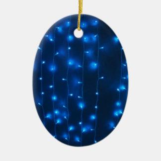 Defocused and blur image of garland of blue LED li Ceramic Oval Decoration