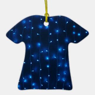 Defocused and blur image of garland of blue led li ceramic T-Shirt decoration
