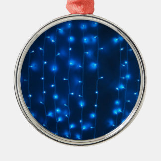 Defocused and blur image of garland of blue LED li Silver-Colored Round Decoration