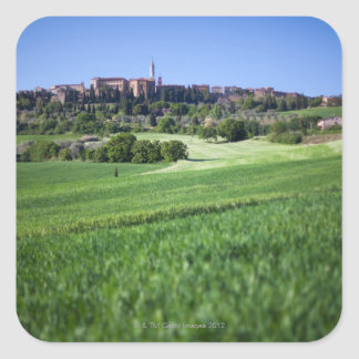 defocused grainfield with on pienza, tuscany, square sticker