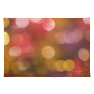 Defocused red and orange fairy lights placemat