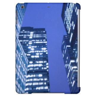 Defocused upward view of office building windows
