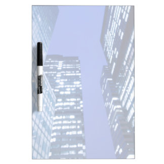 Defocused upward view of office building windows dry erase board