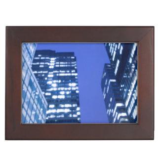 Defocused upward view of office building windows keepsake box
