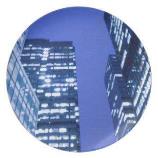 Defocused upward view of office building windows plate