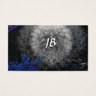 Deformed Dandelion on Black with Sprinkled Blue Business Card