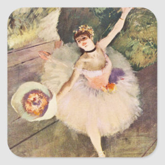 Degas Ballerina with Bouquet of Flowers Square Sticker