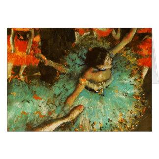 Degas Green Dancer Ballet Impressionist Greeting Card