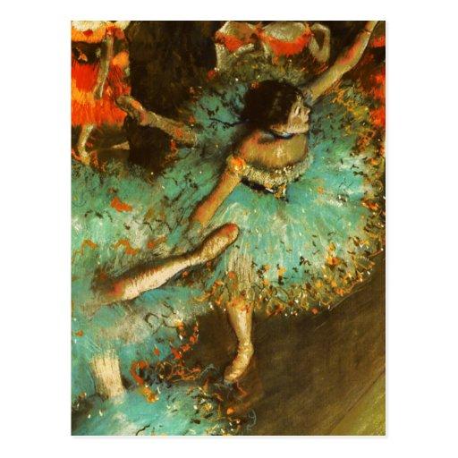 Degas Green Dancer Ballet Impressionist Postcards