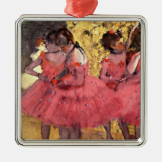 Degas - The Pink Dancers Silver-Colored Square Decoration