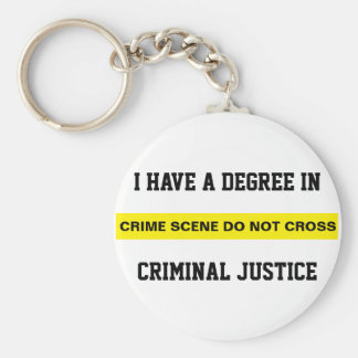 Degree in Criminal Justice Basic Round Button Key Ring