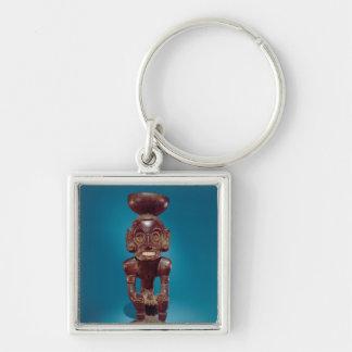 Deity figure , Dominican Republic Silver-Colored Square Key Ring