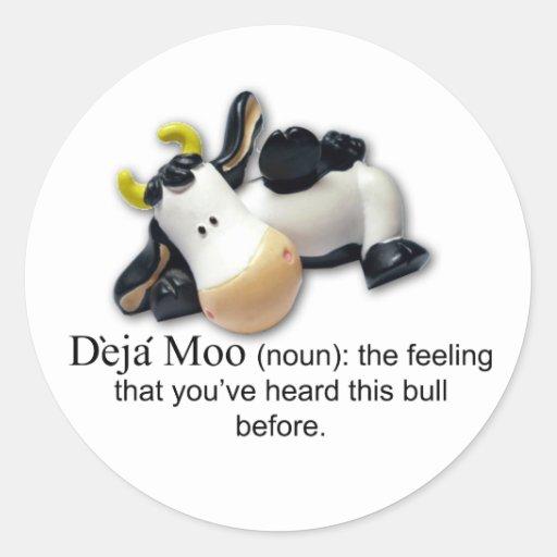 Deja Moo Round Sticker