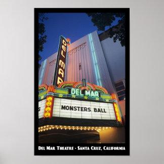 Del Mar Theatre, Santa Cruz 11x17 Poster