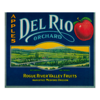 Del Rio Apple Crate LabelMedford, OR Poster