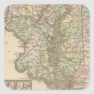 Delaware and Maryland 2 Square Sticker