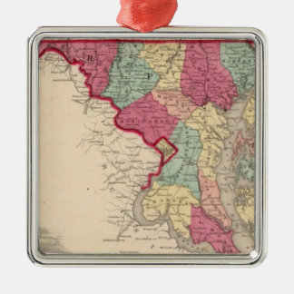 Delaware and Maryland Silver-Colored Square Decoration