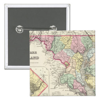 Delaware And Maryland with District of Columbia 15 Cm Square Badge