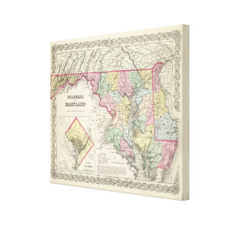 Delaware And Maryland with District of Columbia Canvas Print