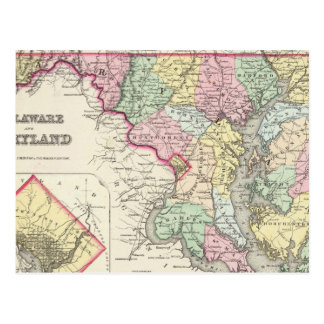 Delaware And Maryland with District of Columbia Post Card