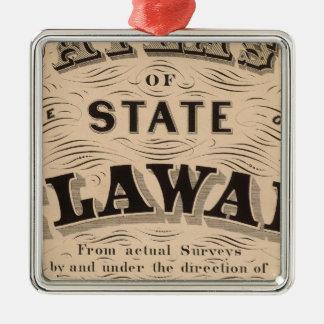 Delaware Atlas Silver-Colored Square Decoration