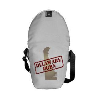 Delaware Born - Stamp on Map Messenger Bags