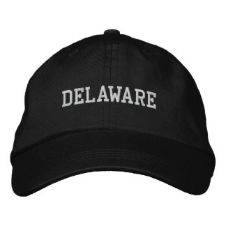 Delaware Embroidered Adjustable Cap Black Embroidered Baseball Cap