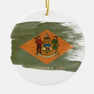 Delaware Flag Round Ceramic Decoration