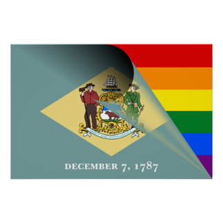 Delaware Flag Gay Pride Rainbow Poster